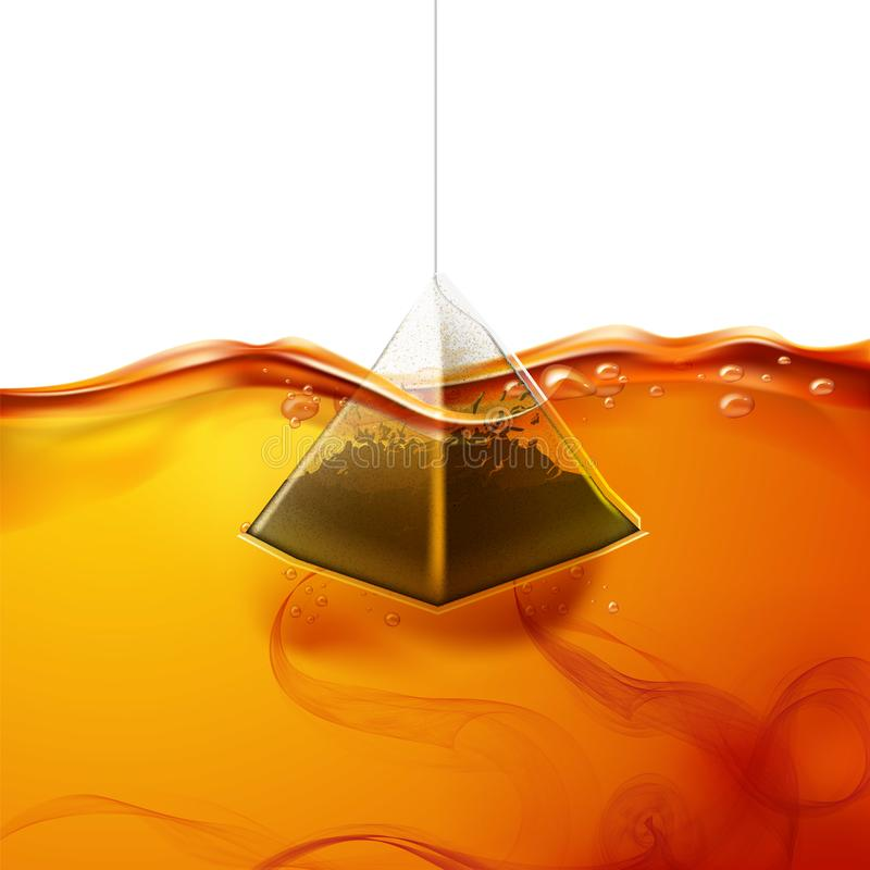 Vector realistic pyramid teabag dipped into water. Realistic pyramid teabag dipped into hot water. Black tea swirls in fresh liquid. Sachet brewing in hot royalty free illustration