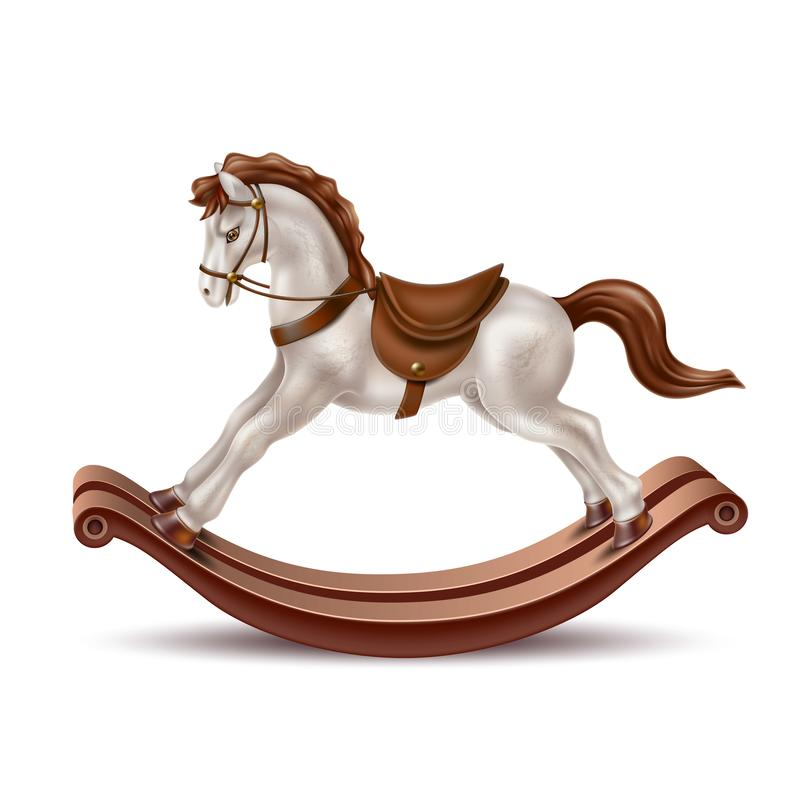 Vector realistic rocking horse vintage 3d toy stock illustration