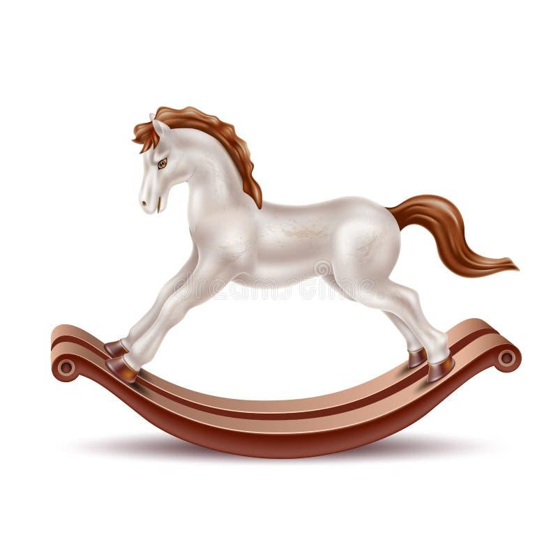 Vector realistic rocking horse vintage 3d toy vector illustration