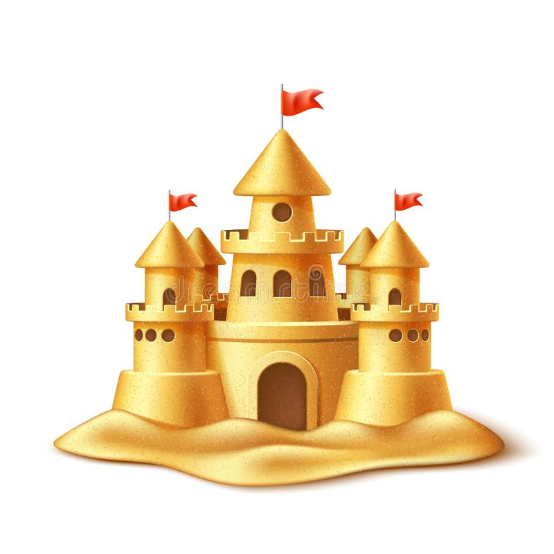Vector realistic sand castle, fort fortress towers vector illustration