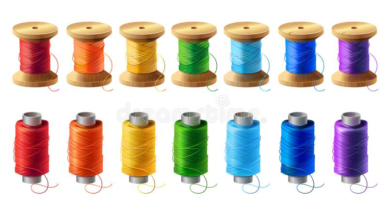 Vector set of colored thread spools for sewing vector illustration