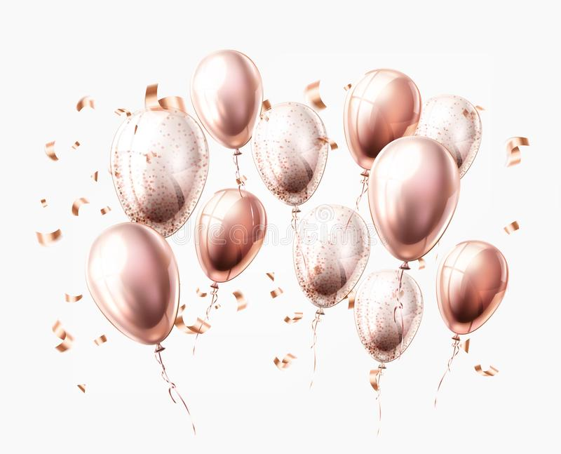 Vector realistic shiny balloons pink vector illustration