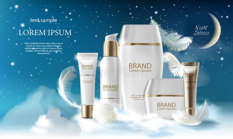 Skin care cream night series. Jar, spray, container with cosmetic cream on night background with clouds. Vector. Vector realistic skin care big night series. Jar stock illustration