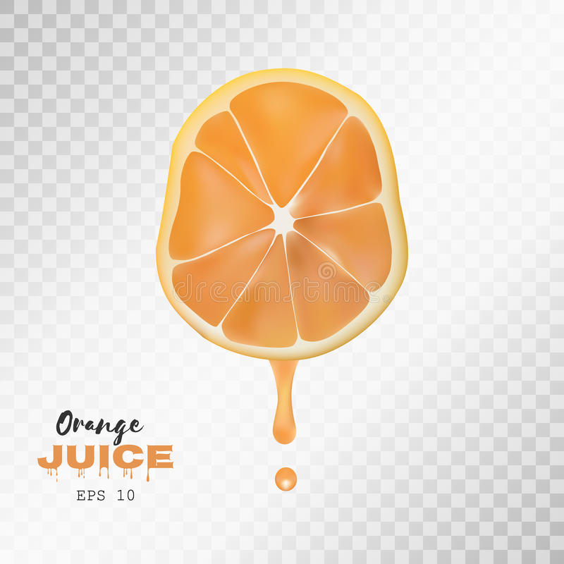 Vector realistic sliced orange with drop of juice. Transparent background. Vector realistic sliced orange with drop of juice. Juicy fruit presentations postcards royalty free illustration