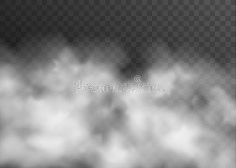 Vector realistic smoke, fog or mist transparent effect isolated on dark background royalty free illustration