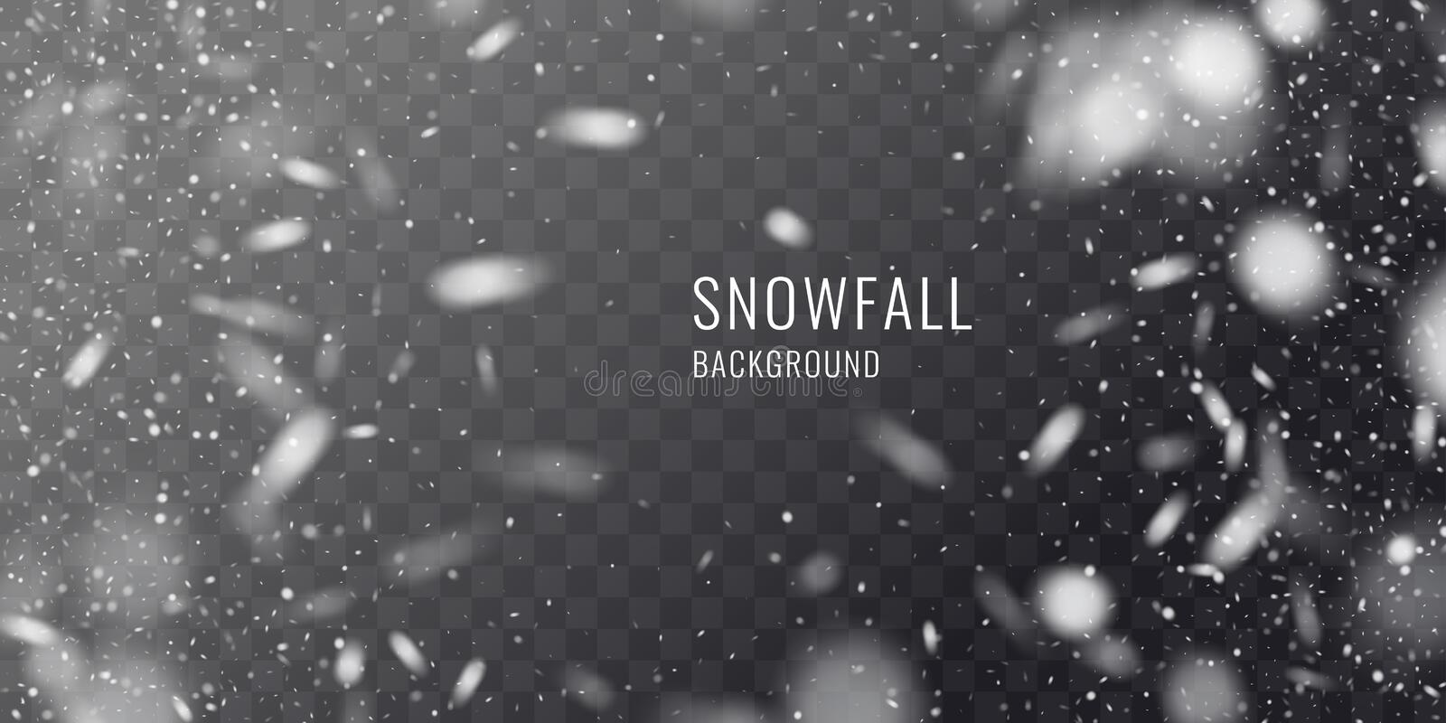 Vector realistic snowfall against a dark background. Transparent elements for winter cards. And poster royalty free illustration