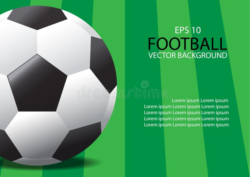 Soccer ball. Vector realistic soccer ball on field grass royalty free illustration