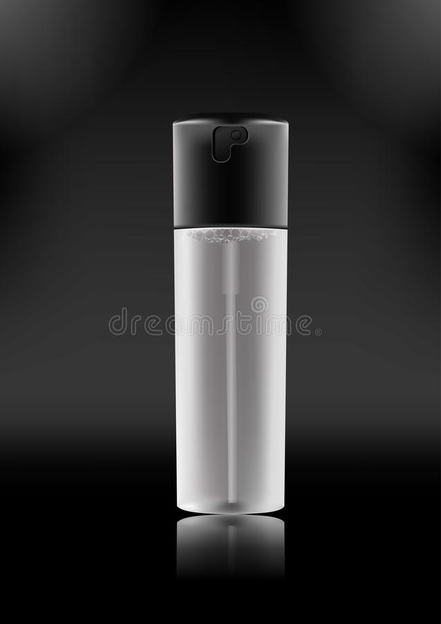Vector realistic spray bottle with dispenser for cosmetic products,fixing spray,tonic,thermal water,hair products. Transparent matt bottle with a black lid royalty free illustration