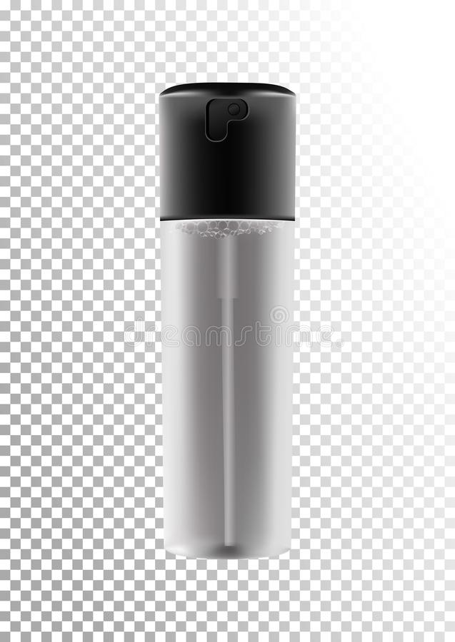 Vector realistic spray bottle with dispenser for cosmetic products,fixing spray,tonic,thermal water,hair products. Transparent matt bottle with a black lid stock illustration