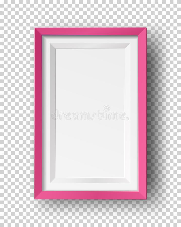 Vector realistic square empty picture frame. Mockup template with red frame boarder isolated stock illustration