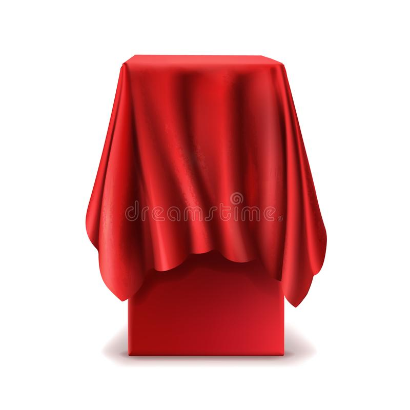 Vector realistic stand covered with red silk cloth. Isolated on white background. Empty podium, tribune with tablecloth for speech or presentation. Secret box vector illustration