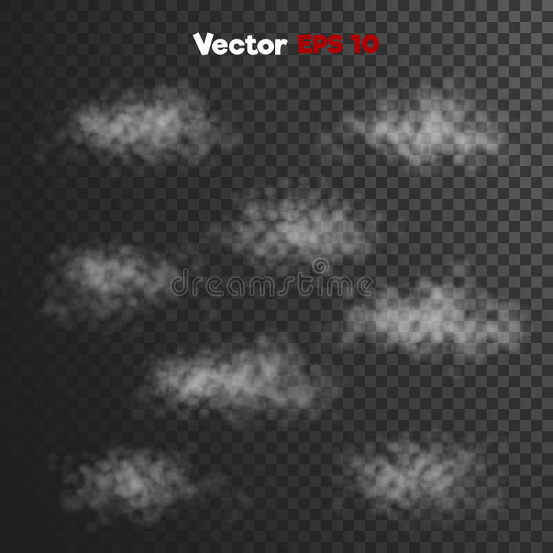 Vector realistic storm thick clouds of steam, vapour misty fog royalty free illustration