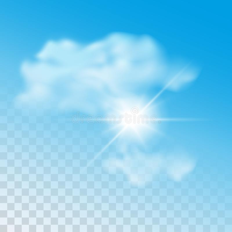 Vector realistic sun with clouds illustration isolated on transparent background.  stock illustration