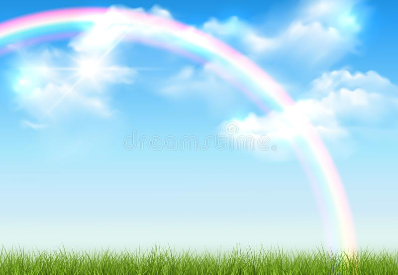 Vector realistic sunny landscape with green lawn, blue sky with clouds and rainbow vector illustration