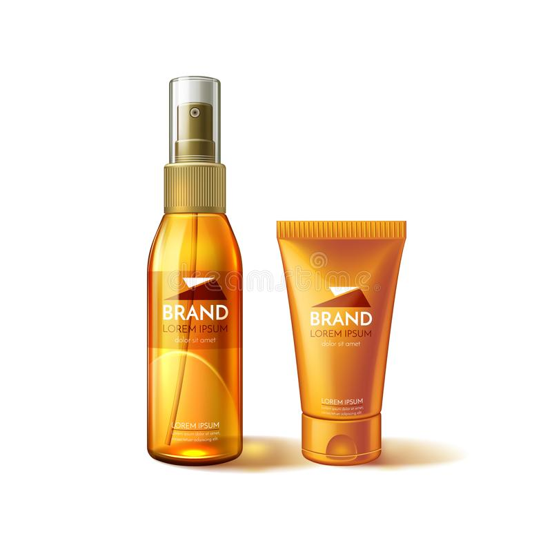 Vector realistic sunscreen sunblock tube mockup ad royalty free illustration