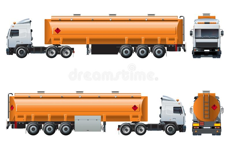 Vector realistic tanker truck template isolated on white vector illustration