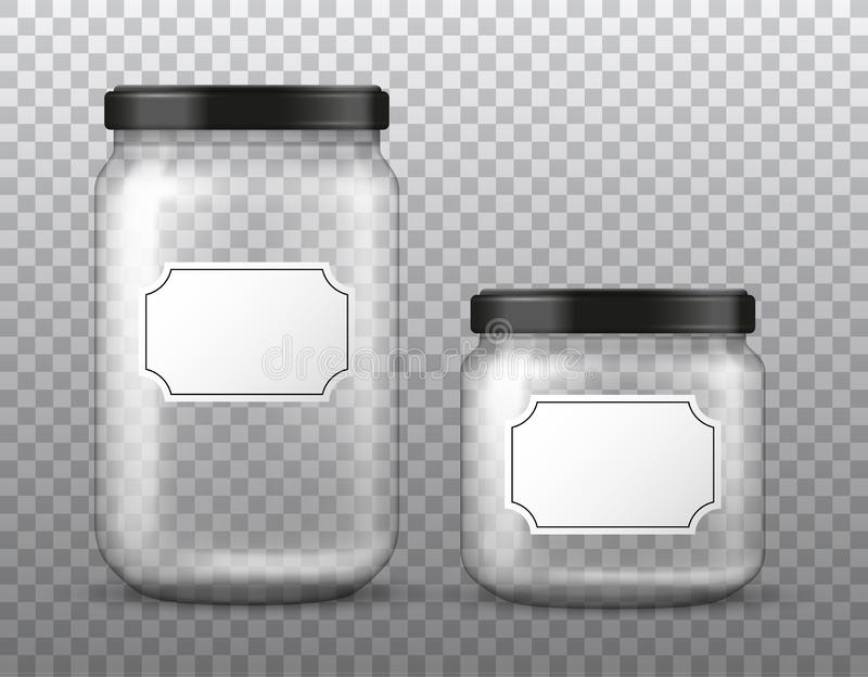 Vector realistic transparent big and small glass jar with blank label isolated on transparent background stock illustration
