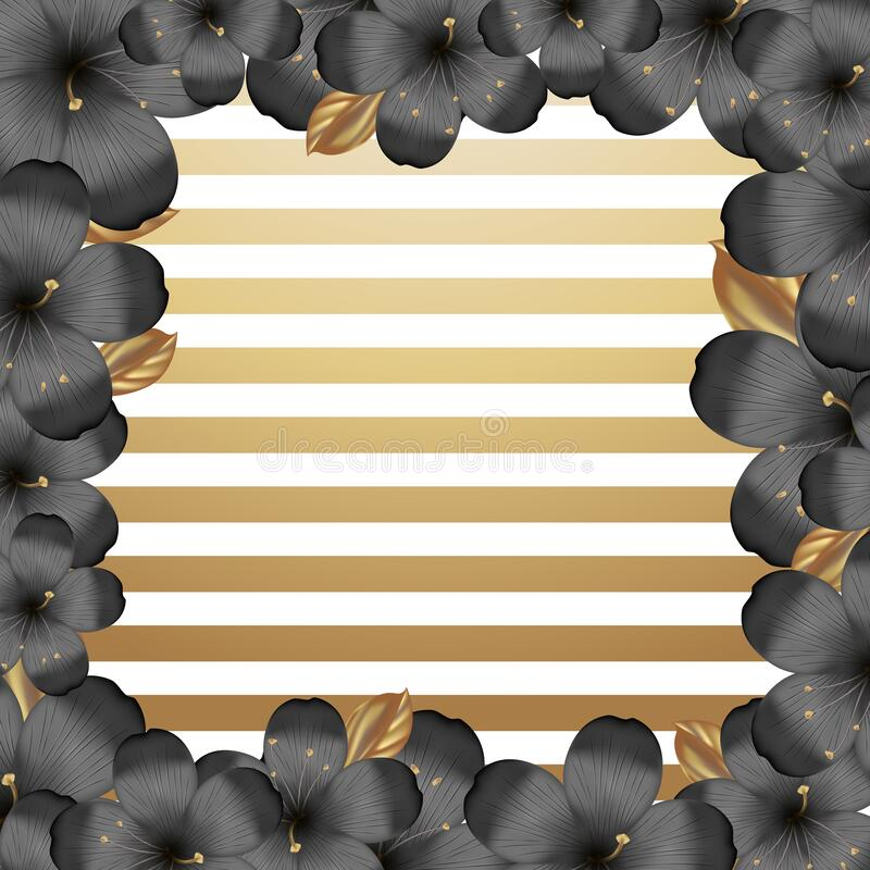 Vector realistic tropical hawaiian black with gold flowers. Frame with Metallic hibiscus and strips background. Summer paradise. Botanical nature illustration royalty free illustration