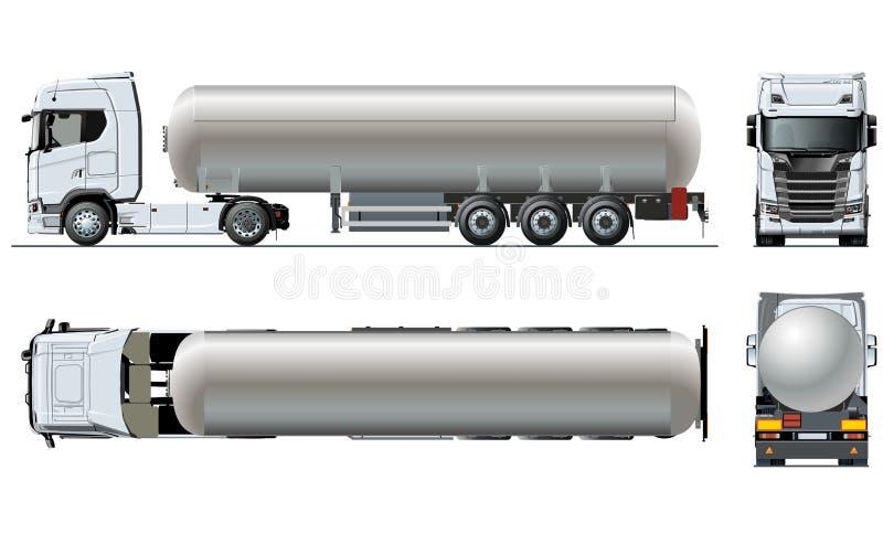 Vector realistic tunker truck template on white stock illustration
