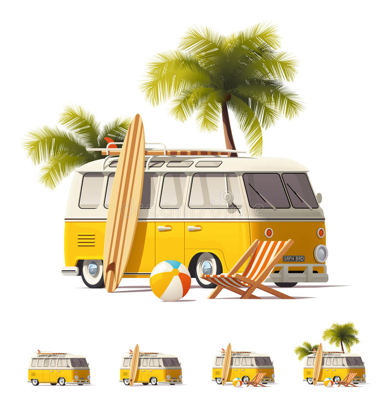 Vector realistic vintage hippie van icon set. Detailed icons representing yellow vintage hippie or surfer van with surfboards and deck chair on the beach vector illustration
