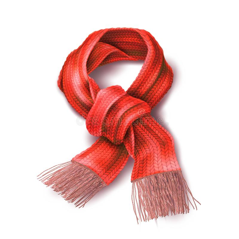 Vector realistic knitted warm scarf chirstmas sign royalty free illustration