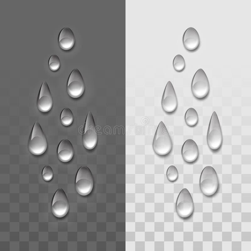 Vector Realistic Water Drops Set stock illustration