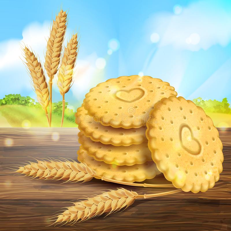 Vector realistic wheat cookies packaging ad stock illustration
