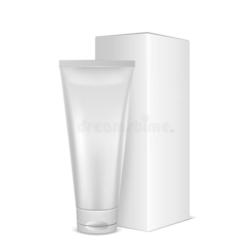 Vector realistic white blank plastic closed cosmetic tube icon with box closeup isolated on white background. Design stock illustration