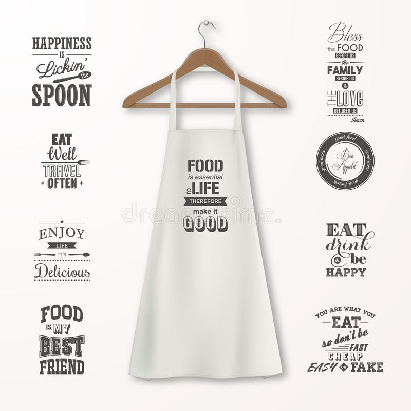 Vector realistic white cotton kitchen apron with clothes wooden hanger and quotes about food set closeup on stock illustration