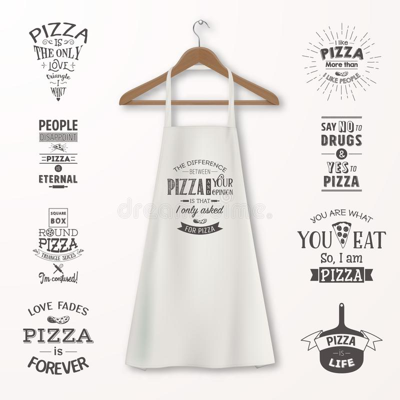 Vector realistic white cotton kitchen apron with clothes wooden hanger and quotes about pizza set closeup on stock illustration
