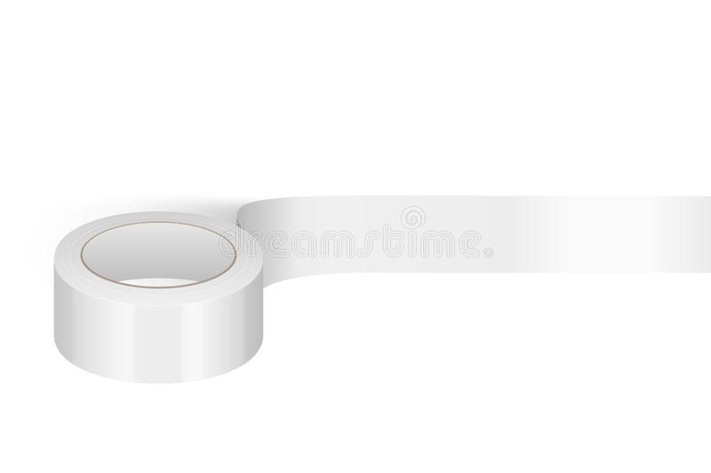 Vector Realistic White 3d Glossy Tape Roll Template for Logo, Print, Mock-up Closeup Isolated on White Background vector illustration