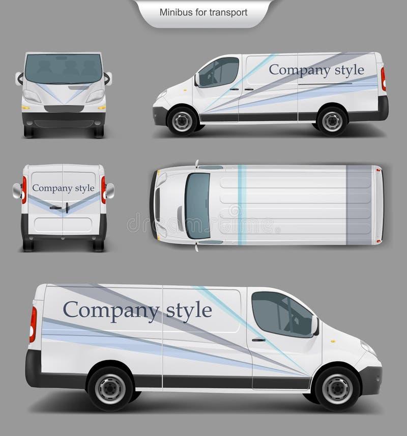 White minivan top. front, back, side view. Vector realistic white delivery minivan, city minibus with company style top. front, back, side view, with shadow vector illustration