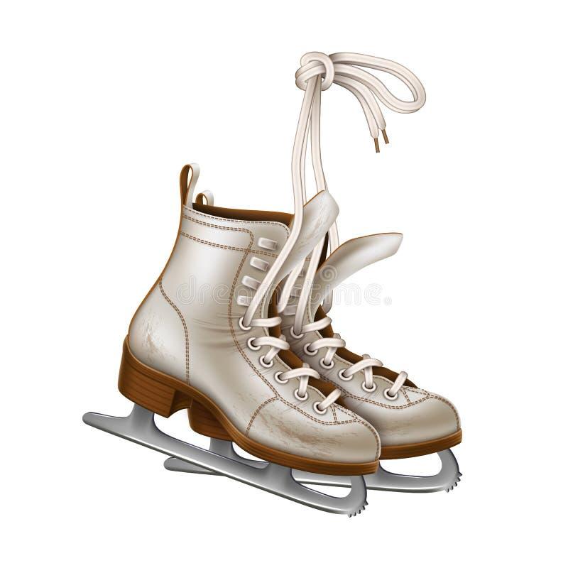 Vector realistic figure skates, vintage ice skates stock illustration