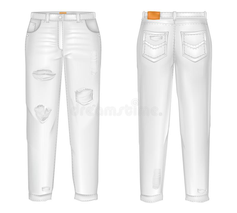 Vector realistic white jeans with rips, gaps. Unisex trousers isolated on white background. Casual pants 3d illustration stock illustration