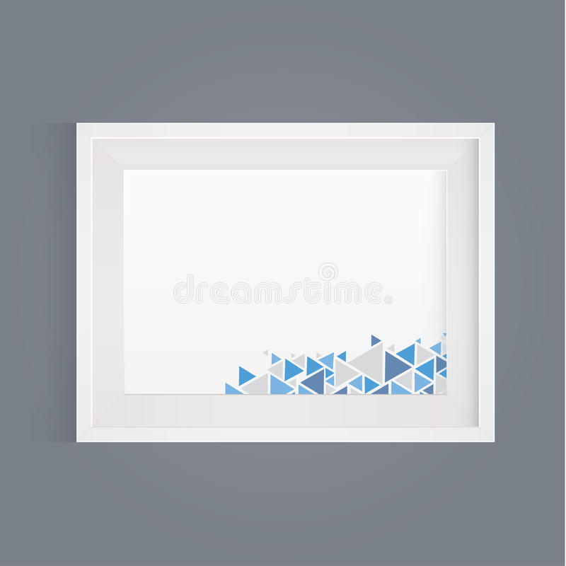 Vector realistic white picture frame. Modern design element for stock illustration