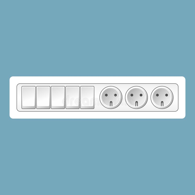 Vector realistic white switches and socket set isolated on blue background. Design template in EPS10. royalty free illustration