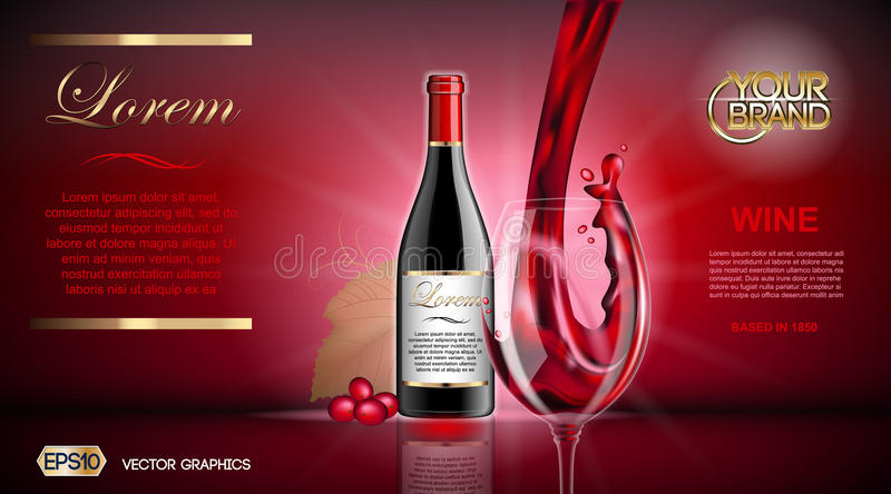 Vector Realistic Wine Glass and Bottle Mock up. Red vine grapes. Natural vibrant background with place for your branding vector illustration