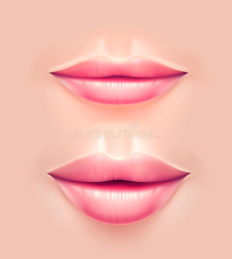 Vector realistic woman lips after plastic surgery. Vector realistic beauty woman lips before and after plastic surgery operation. Female sensual mouth after royalty free illustration