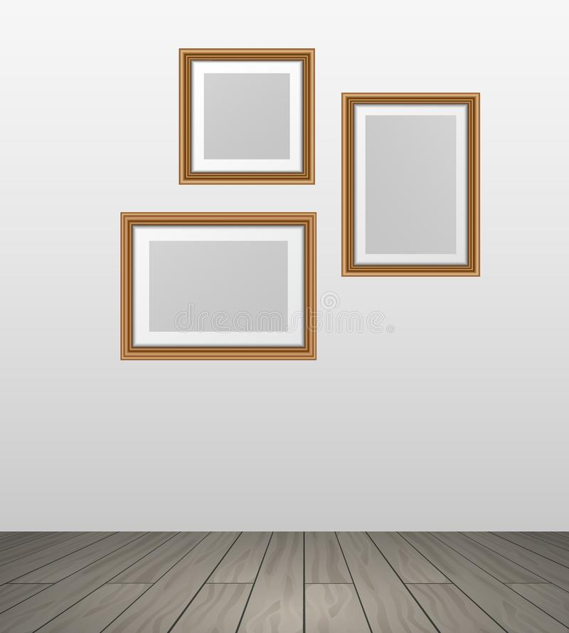 Vector realistic wooden photo frames hanging on wall in room woth parquet floor - template vector illustration