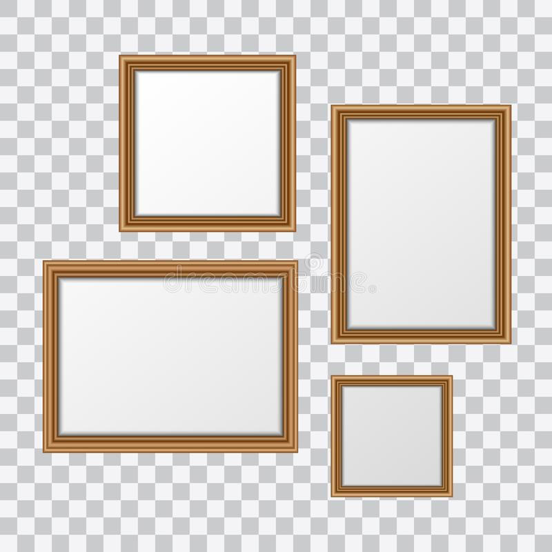 Vector realistic wooden picture frames set isolated on transparent background.  royalty free illustration