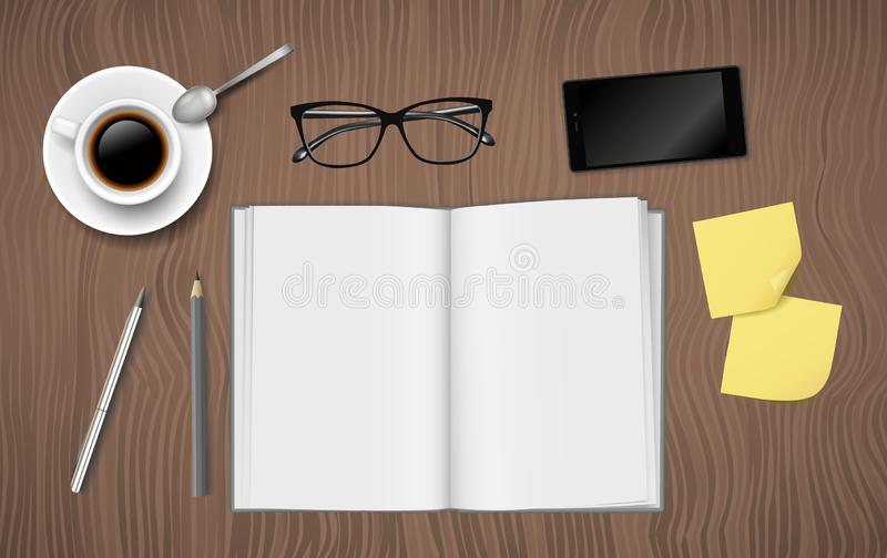 Vector realistic workplace desk from above with open blank notebook, cup of coffe, glasses and phone royalty free illustration