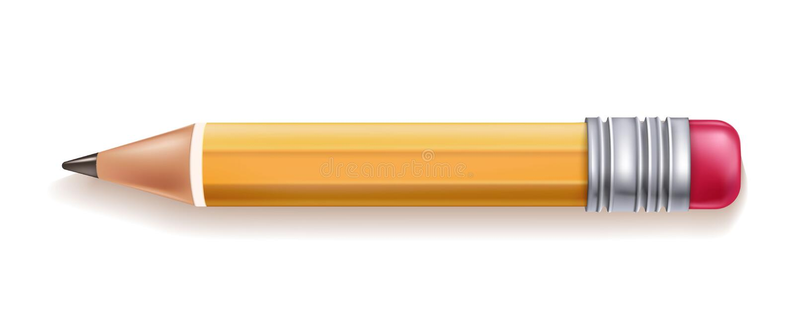 Vector realistic yellow wood pencil rubber eraser royalty free illustration