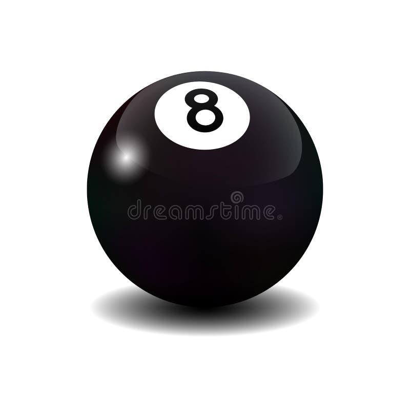 Vector realistisch biljart acht bal vector illustratie