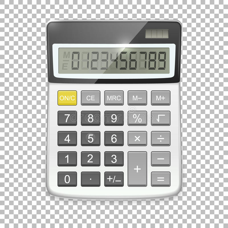 Vector realistisch die calculatorpictogram op transparante achtergrond, ontwerpmalplaatje in EPS10 wordt geïsoleerd stock illustratie