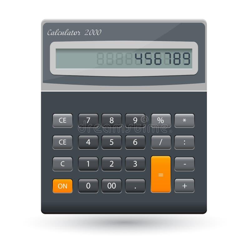 Vector realistisch die calculatorpictogram op transparante achtergrond, ontwerpmalplaatje wordt geïsoleerd royalty-vrije illustratie