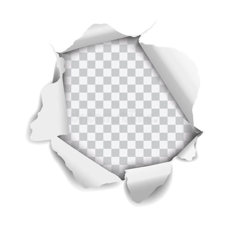 Vector realistisch die gat in document wordt gescheurd op witte achtergrond wordt geïsoleerd vector illustratie