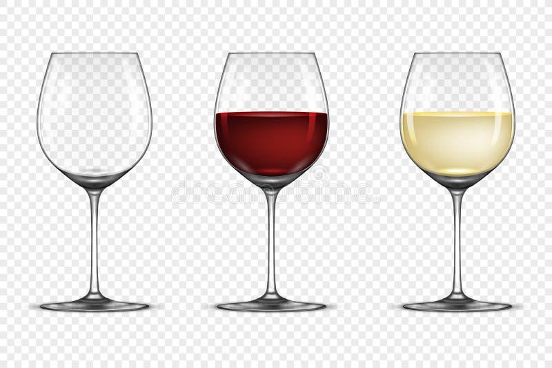 Vector realistisch geplaatst wijnglaspictogram - leeg, met witte en rode die wijn, op transparante achtergrond wordt geïsoleerd O royalty-vrije illustratie