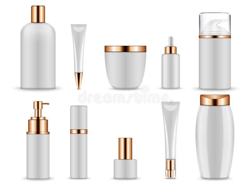 Vector realistisch model voor kosmetische containers voor room en tonische flessen vector illustratie