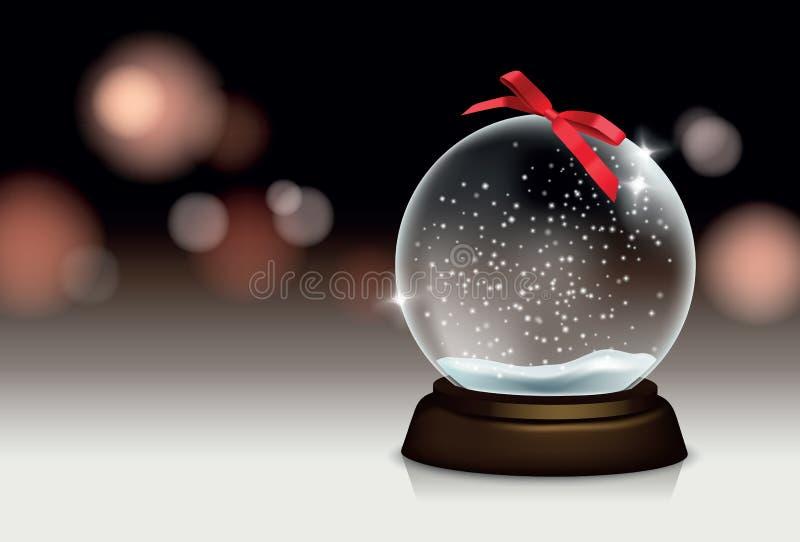 Vector realistisch mooi Kerstmisstilleven met snowglobe en vage lichten op de achtergrond voor uw groetkaart of stock illustratie