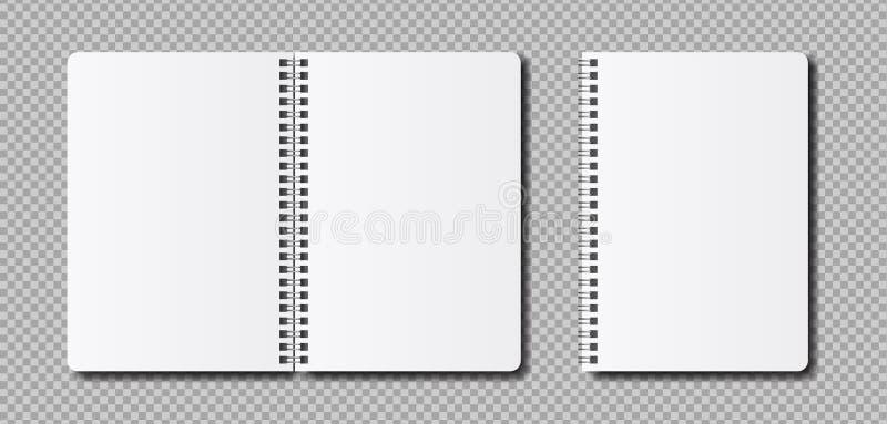 Vector realistisch open blocnotemalplaatje royalty-vrije illustratie